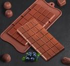 Форма для льда и шоколада Доляна «Плитка», 22,5×10,5×0,2 см, 24 ячейки, цвет шоколадный