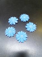 Сахарное украшение, Цветочки, синие , 5 шт