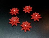 Сахарное украшение, Цветочки, красные , 5 шт