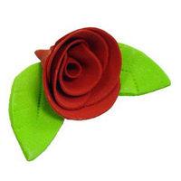 Украшение сахарное Роза красная с листиком, 5 шт