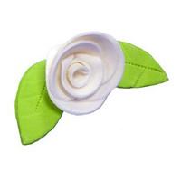 Украшение сахарное, Роза белая с листиком , 5 шт