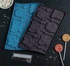 Форма для леденцов и мороженого «Звери», 6 ячеек, с палочками, цвет шоколадный 2854632