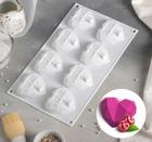 Форма для муссовых десертов и выпечки «Сердце. Геометрия», 8 ячеек, 29×17 см 2854661