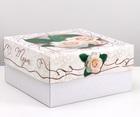 "упаковка для торта, ""Белые розы"", 2 кг, 29,5 х 29,5 х 15 см"