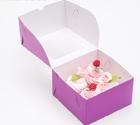 Упаковка для капкейков с окном на 4 шт, фиолет, 16 х 16 х 10 см