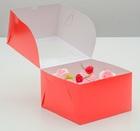 Упаковка для капкейков с окном на 4 шт, красная, 16 х 16 х 10 см