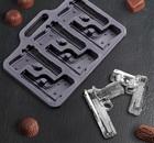 """Форма для льда и шоколада """"Пистолет"""", 6 ячеек, 2389453"""