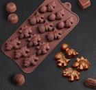Форма для льда и шоколада «Дино», 12 ячеек (4×2,5×2 см), 21×11 см, цвет шоколадный 1057114