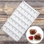 Форма для муссовых десертов и выпечки  «Сердца», 35 ячеек (2,5×2,3 см), цвет белый