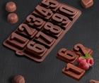 Форма для льда и шоколада «Цифры», 20×11 см, 10 ячеек, 4293912