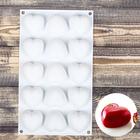 Форма для муссовых десертов и выпечки  «Сердца», 15 ячеек (5*5*3 см), цвет белый