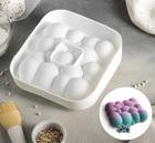 """Форма для муссовых десертов и выпечки 19 × 19 × 5,5 см """"Воздушные пузыри"""", цвет белый 2582055"""