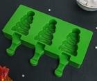 Форма для леденцов и мороженого «Ёлочка», 19,5×13×2,5 см, 3 ячейки (7,1×2,7 см), цвет МИКС 4472192