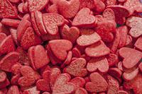 Сердечки сахарные красные большие  , 100 гр