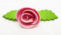 Украшение сахарное, Роза розовая с листиком, 5 шт