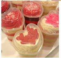 Пластиковый стаканчик-толкатель СЕРДЦЕ  для бисквитных пироженных