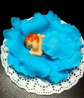 Сахарное украшение, Младенец в капусте, голубое
