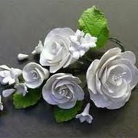 Цветочная ветка сахарная Большая БЕЛАЯ роза