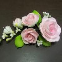 Цветочная ветка сахарная Большая РОЗОВАЯ роза