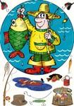 Вафельная картинка, Рыбак, А4