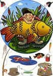 Вафельная картинка, Рыбак2, А4
